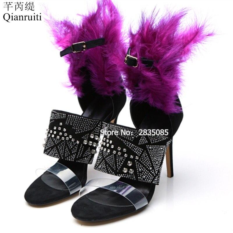 Chaussures Plume Parti Sandales Cheville Talons Strass Club Femmes Style Stilettos 2018 Noir Bal De Hauts Glitter Célébrités Décoré Sangle uT51J3lFKc
