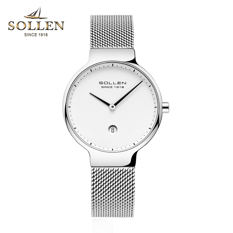 Ultra-thin Women's Watches Top brand SOLLEN Luxury Stainless Steel Quartz Waterproof Wrist Watch for Women Relogio Masculino