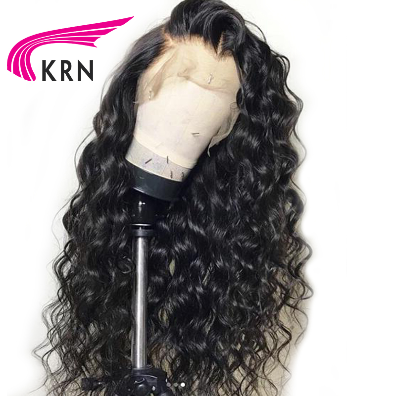 KRN Pre Plucked Curly Lace Front Wigs With Baby Hair Remy 13X3 Lace Front Brazilian Human