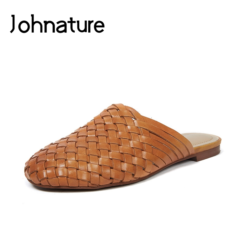 Johnature Genuine Leather Summer Slippers Solid Outside Handmade Flat With Slides Retro Weave Casual Sandals Women