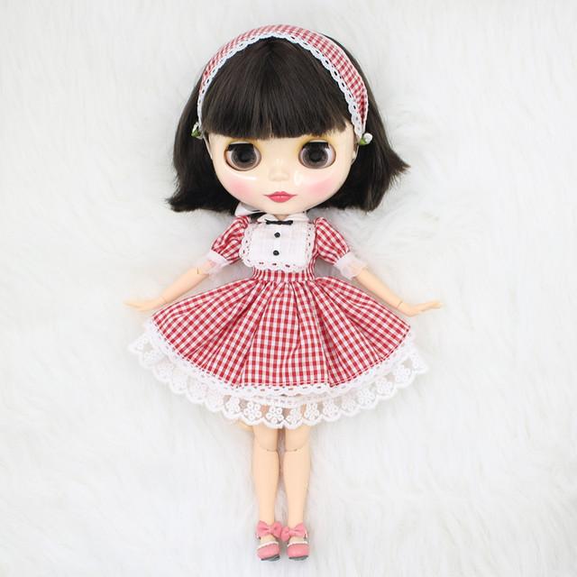 ICY Neo Blythe Doll Qisa Qara Saçlar Birləşdirilmiş Body 30cm