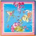 90*90CM 100% Twill Silk  feeling polyester Chinese style Women Vintage Floral Bird Animal Printed Scarf Women Shawls