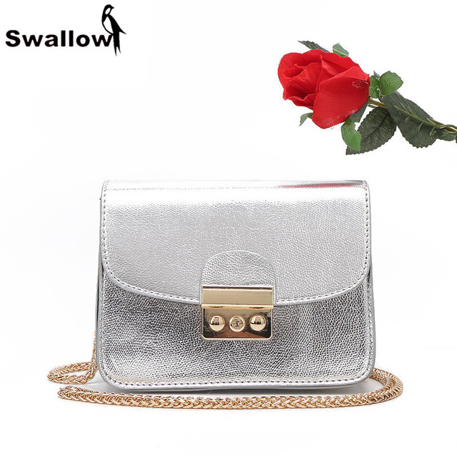 SWALLOW Mini Women Messenger Bags Famous Brand PU Leather Crossbody Bag For Women With Chain Small Bag Ladies Silver Cover Lock