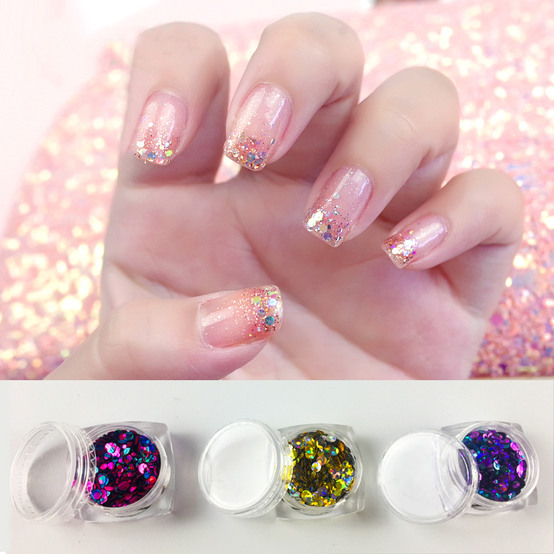 12 JARs Set Holographic Metallic Glitter Dots Solvent Resistant for Nail Art Festival Glitter 12 Colors Chunky Glitter in Nail Glitter from Beauty Health