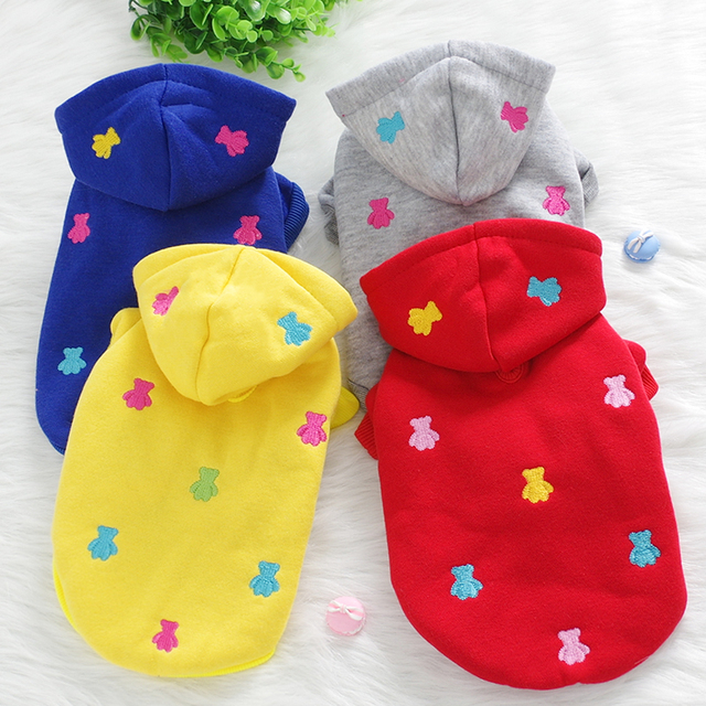 New Dog Hoodies For Small Dogs Embroidered Bear Winter Designer Pet Animals Hoodie Coat For Cats Animals Yorkshire Bulldog Goods