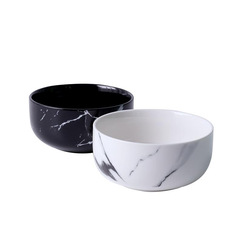 14 Ounce Kreatif Desain Marmer Butir Keramik Mangkuk Nasi Sup Mangkuk Sereal Mie Makan Peralatan Makan Dekorasi Rumah