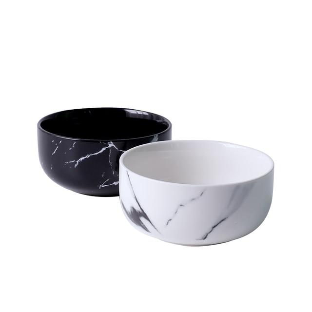 14 Ounce Creative Design Marble Grain Ceramic Rice Bowls Porcelain Noodle Cereal Soup Bowl Dinnerware Home