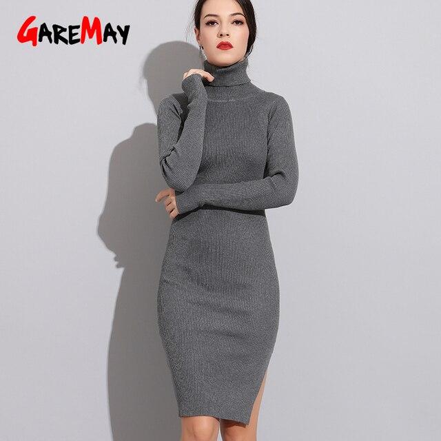 Turtleneck Dress Knitted For Winter Autumn 2018 Women Knitting Sweater  Dress Warm Long Sleeve Ladies Casual b08b101e3e4e