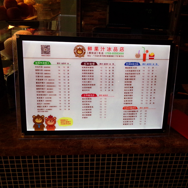 A Size Crystal Frame Led Price List Menu Light Box Free Stand With