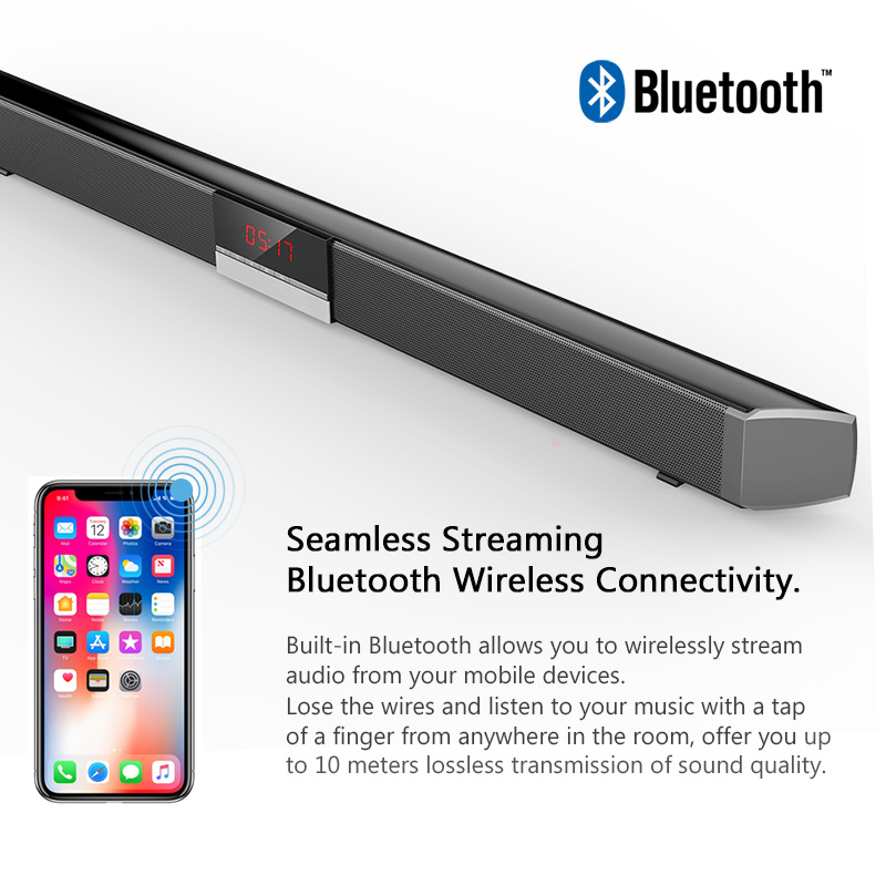 XGODY SR100 Plus Bluetooth Soundbar for TV Wireless Speaker Aux-In Coaxial Optical Subwoofer Home Theater Free to E.U Countries
