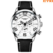 f7ec6bafaf4 Relógios de Couro Dos Homens Da Marca EYKI Relógio Masculino Semana Data de  Exibição de Pulso