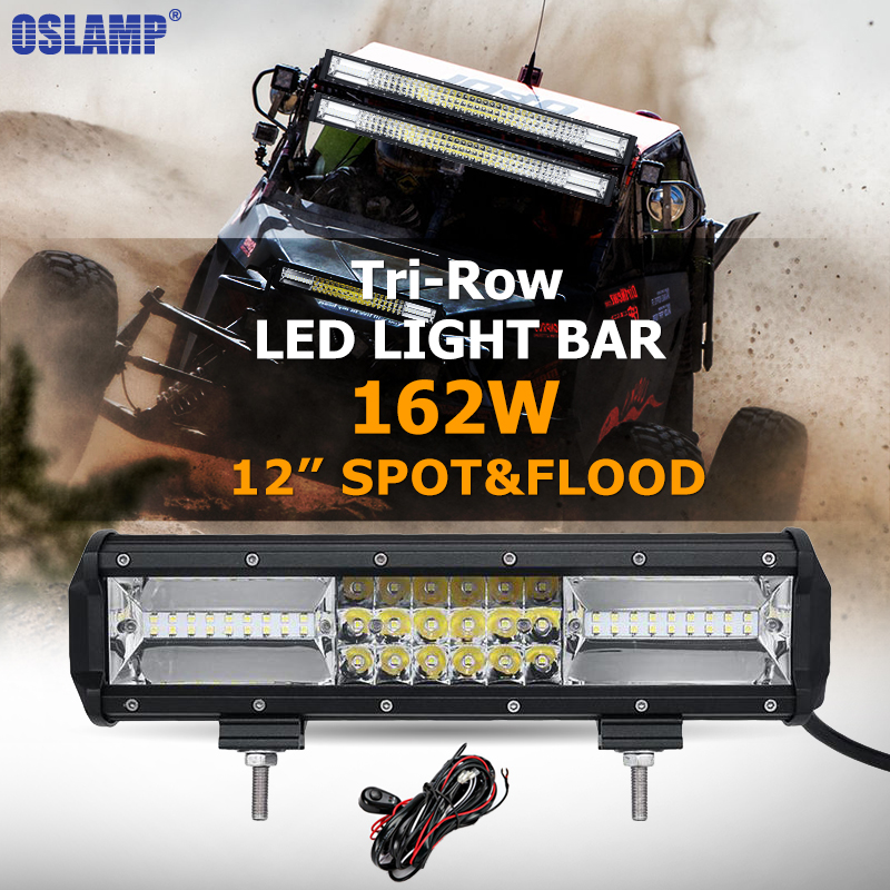 3 Rows 12 162W CREE Chips LED Work font b Light b font Bar Offroad Spot