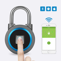 Smart Waterproof Keyless Portable Bluetooth Fingerprint Lock Door Cabinet Anti Theft Security Padlock IOS Android APP Control