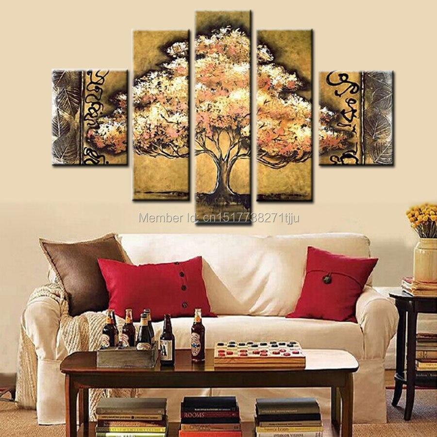 Ručně malované hnědé žluté strom plátno umění olejomalba moderní abstraktní 4ks sada nástěnné dekorace obrázek pro obývací pokoj