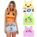 New Hot Cute Pokemon Go Cartoon 3D Print Crop Tops Squirtle/Pikachu/Bulbasaur Colorful Bustier 2016 Sexy Women Slim Tank Top