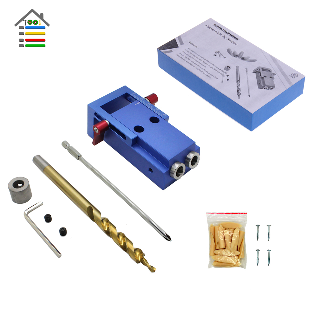 AUTOTOOLHOME Alloy Pocket Hole Jig Kit System with Step Drill Bit PH2 Screwdriver for Kreg Woodworking Hardware Jig Repair Tools woodworking tool pocket hole jig woodwork guide repair carpenter kit system with toggle clamp and step drilling bit k527