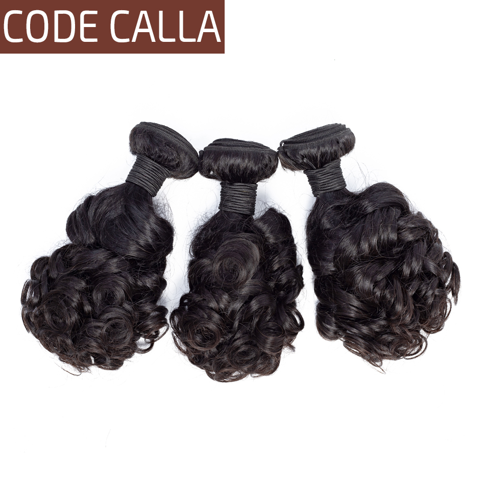 Code Calla Bouncy Curly Hair Bundles Brazilian Remy Human Hair Weave Extensions Bundles Weft Weave Natural Black 1B For Women