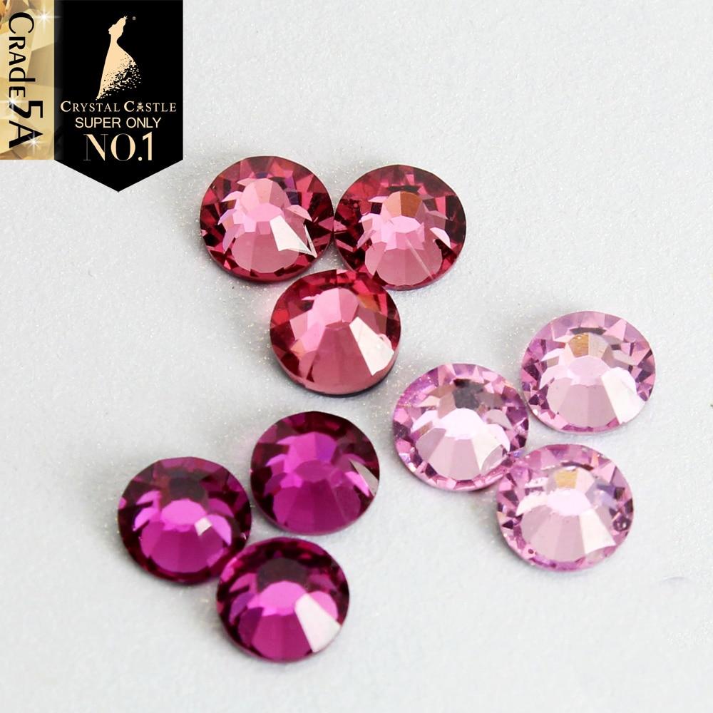 Crystal Castle 5A Glass Strass Stones Pink Light Rose Fuchsia Nail Art Crystal Glitter Flatback Rhinestone Hotfix For Clothes
