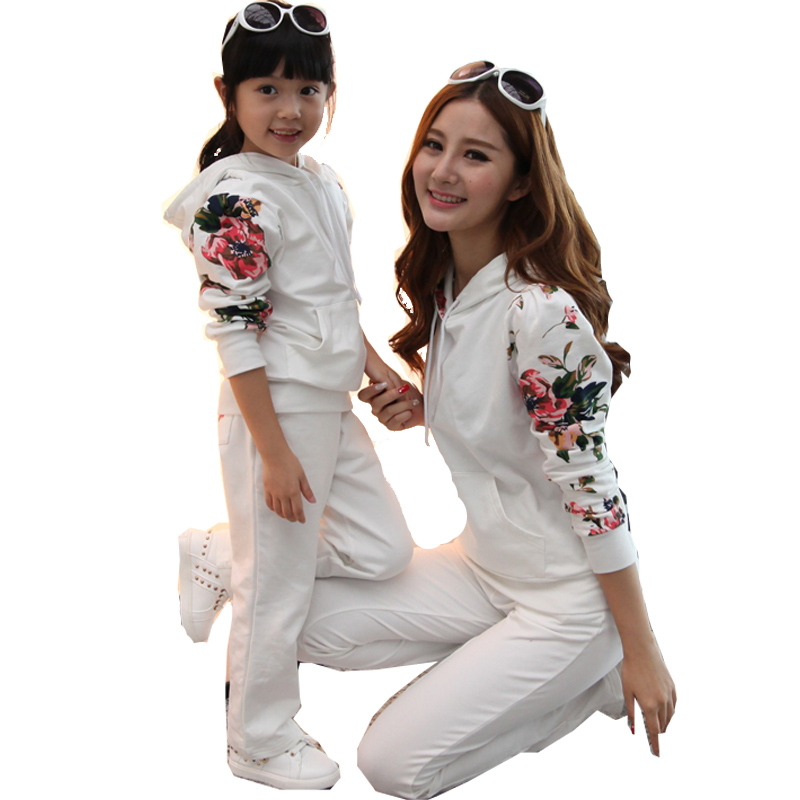 Mom and Daughter Clothing Set Family Matching Outfits Autumn Flowers Print Hoodies&Pant Mother Daughter Clothes Sets Family Look