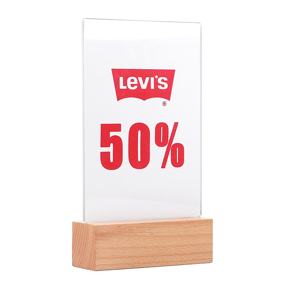 A5 Dependable Performance Acrylic Plastic Menu Sign Holder Frame/Tabletop Display Stand with thicker Wood base