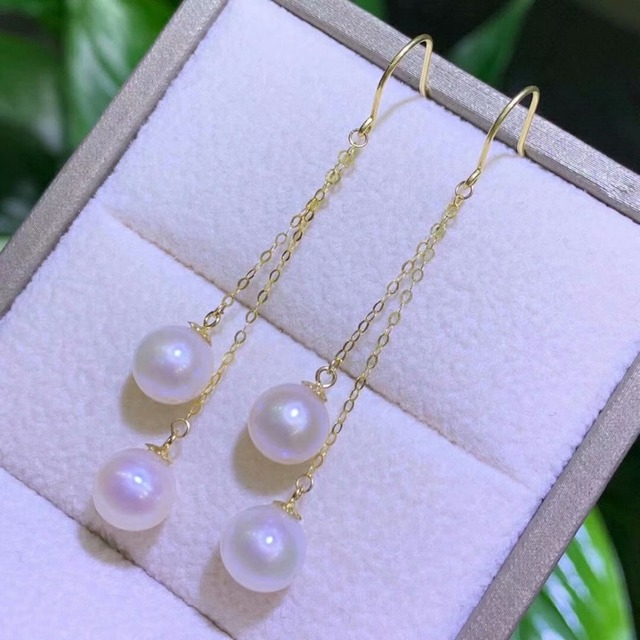 shilovem 18k yellow gold Natural freshwater pearls Drop Earrings fine Jewelry women trendy anniversary  gift myme7-7.5z 1