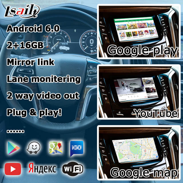 Android navigation box for Cadillac Escalade etc Intellilink Mylink CUE  system video interface with carplay GPS yandex waze