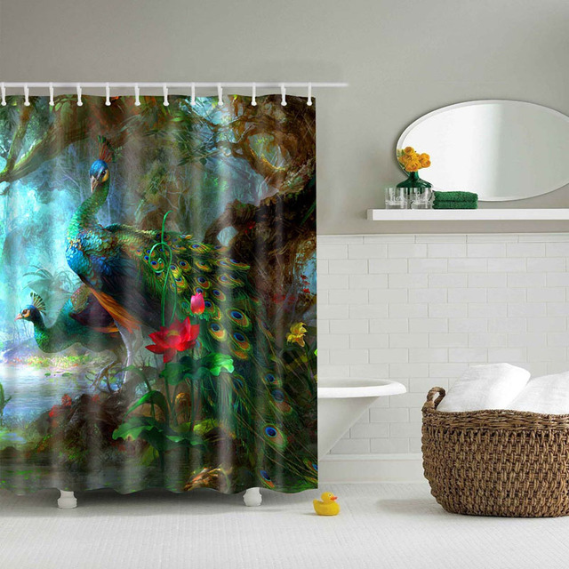 Hot Selling Animal Lion Peacock Horse Space Cat Printed Bathroom Waterproof Polyester Shower Curtain 12 Hooks