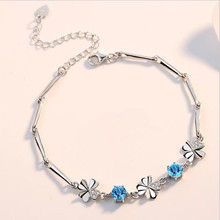 Everoyal Exquisite Crystal Blue Clover Bracelets For Women Jewelry Fashion 925 Silver Girls Wedding Engagement Bijou