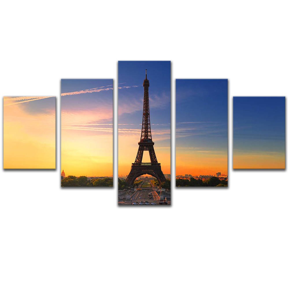 Unframed Canvas Painting Dusk Blue Sky EiffelTower Photo Picture Prints Wall Picture For Living Room Wall Art Decoration