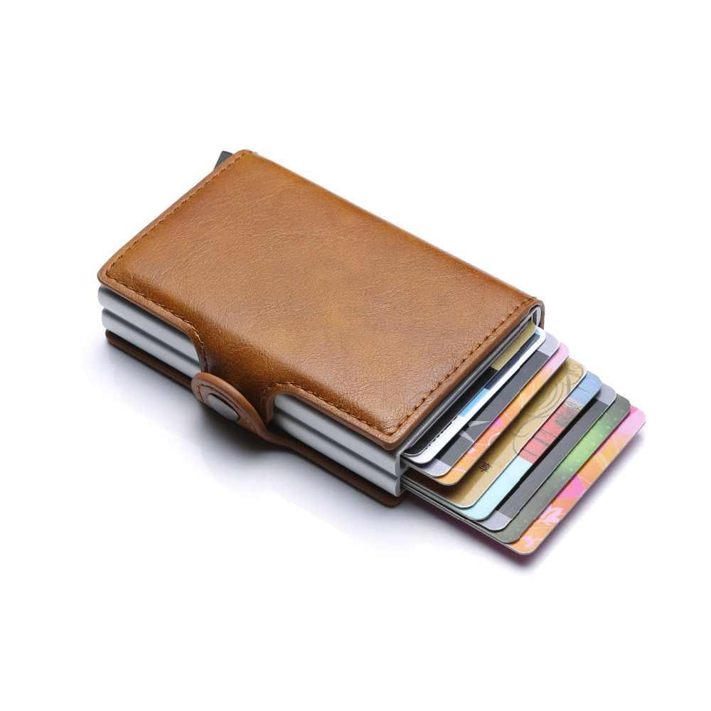 DIENQI Qualidade Superior Saco Mini Bolsa Carteira Dinheiro Homens Macho de Alumínio Titular do Cartão Carteira Pequena Carteira Inteligente Rfid Fina Vallet walet