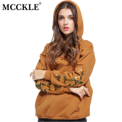 Mcckle embroider hoodies 2017 autumn hooeded sweatshirt women flower long sleeve pullover streetwear big pocket fleece.jpg 250x250
