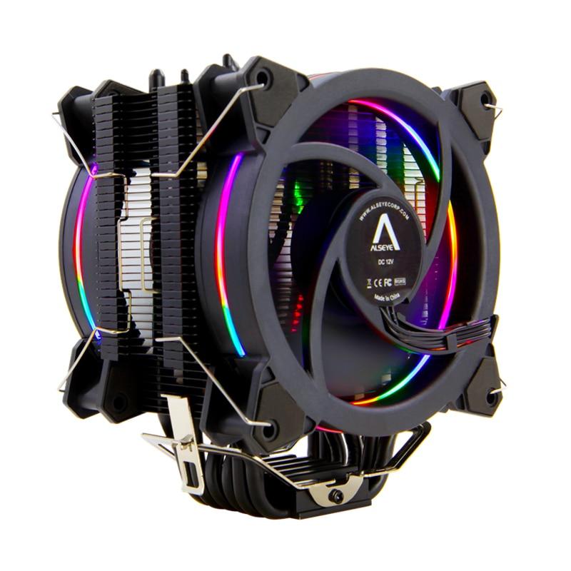Image 2 - ALSEYE H120D CPU Refroidisseur RGB Ventilateur 120mm PWM 4 Broches 6 Caloducs Refroidisseur pour LGA 775 115x1366 2011 AM2 + AM3 + AM4-in Ventilateurs et refroidissement from Ordinateur et bureautique on AliExpress
