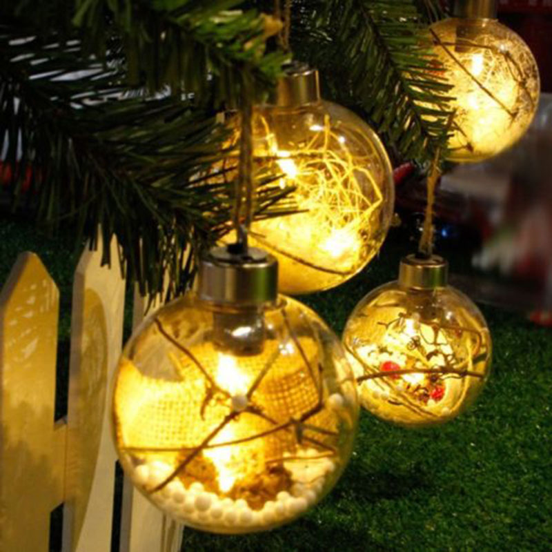 Fashion Christmas Tree Hanging Ornaments LED Transparent Charge Ball Light  Christmas Decor TB Sale