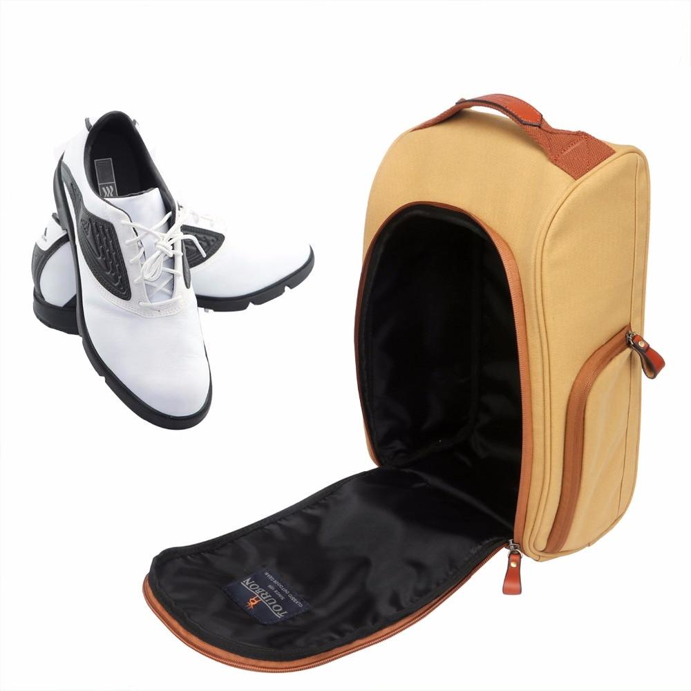 Tourbon Vintage Canvas Golf Shoes Bag Zipped Sports Bag Shoe Case Brown Color