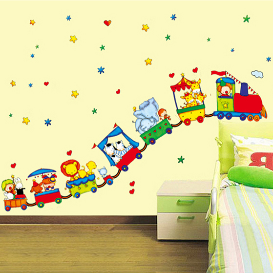Cartoon circus train car decoration baby room wall stickers nursery ...