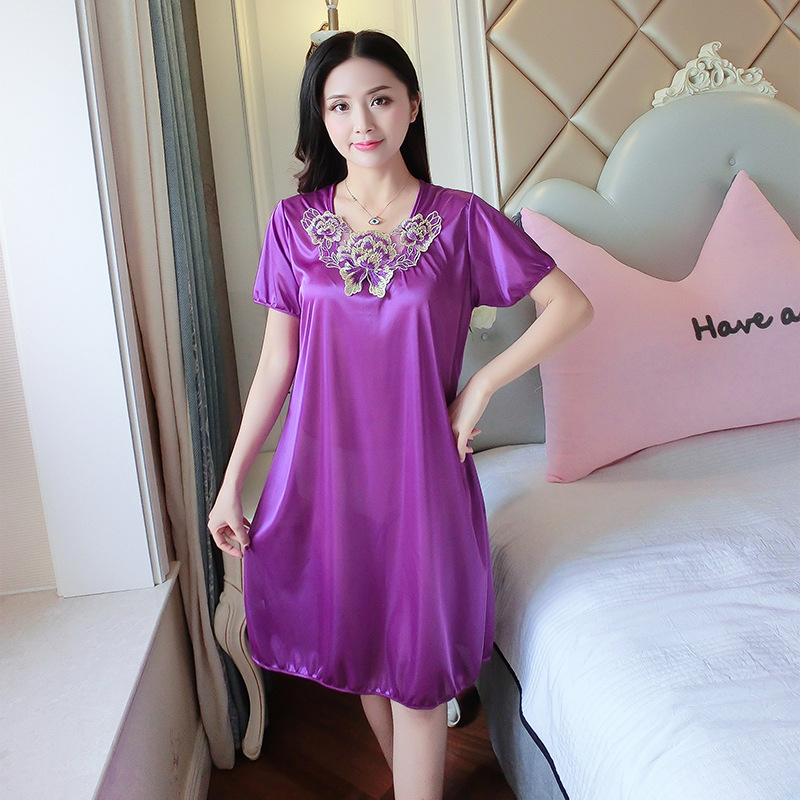 Women Nightgowns Sleepshirts 2018 Women Summer Style Satin Silk ...