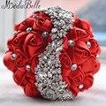 2016 Flores Do Casamento de Noiva Bouquets Artificial Rosa Vermelha Buquê de Luxo Diamante de Cristal Bling Do Casamento Noivas Ramo De Novia