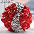 2016 Wedding Flowers Bridal Bouquets Red Artificial Rose Luxury Diamond Crystal Bouquet Wedding Bling Brides Ramo De Novia