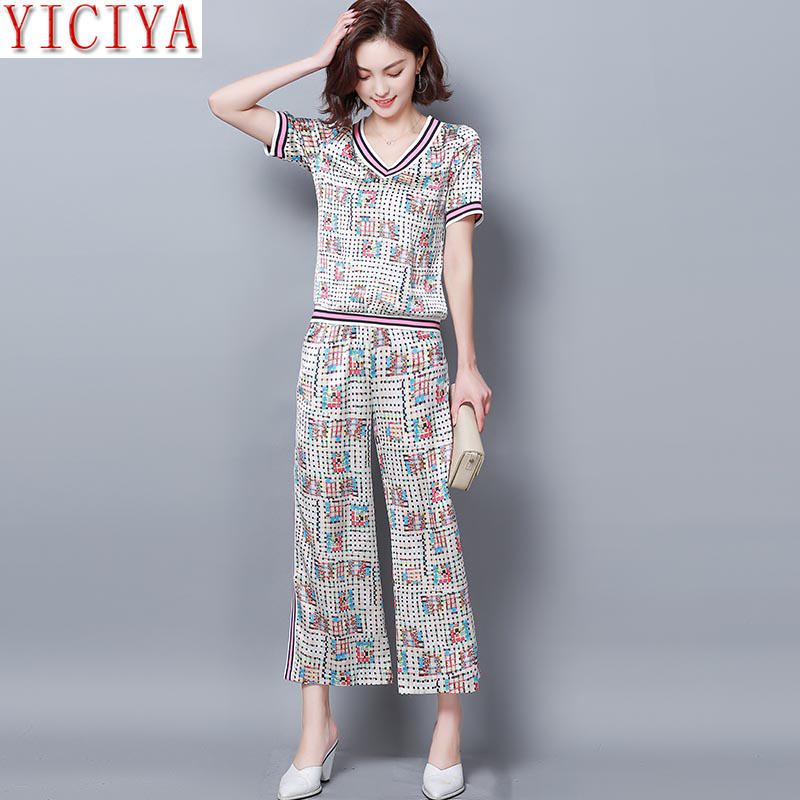 Plus Size Large 2019 Summer 2 Two Piece Outfits Wide Pant Suits and Top Co-ord Set Tracksuits for Women Xxxl 4xl 5xl Clothing