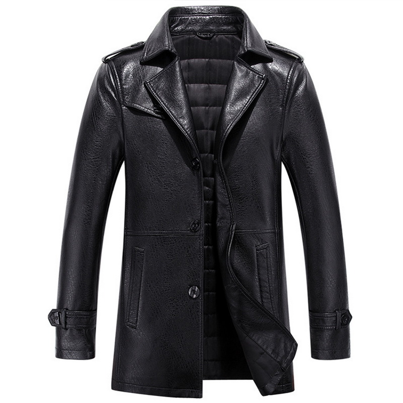 Autumn Winter Casual Mens Leather Jackets And Coats Slim Faux Leather Jacket Male Overcoat thick blazers coat turn down collar