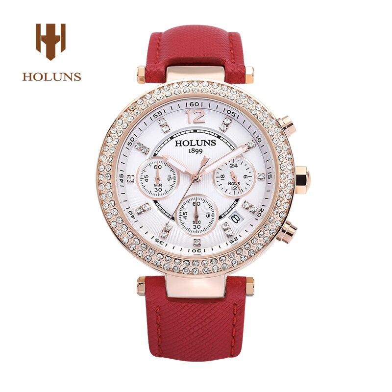 ФОТО HOLUNS 1899 fashion Sapphire glass diamond watch women  waterproof leather strap quartz Chronograph wrist watch