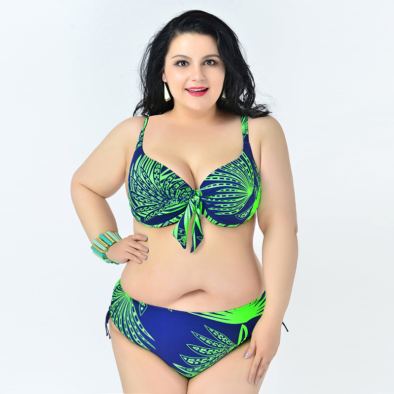 3efaf938fe4 Nylon Material Female Two Piece Bikinis Swimsuit Elastic Backless Swimwear  With Floral And Knots Bathing Suit Plus Size 2XL-6XL