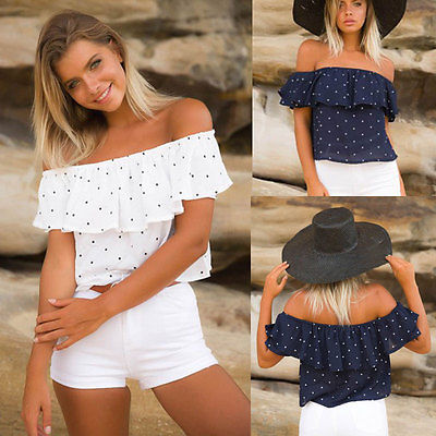Fashion Women Off Shoulder Polka Dot Ruffles   Blouse   tops Summer White navy Blue Sleeveless   Shirt   Casual   Blouse   Loose Top