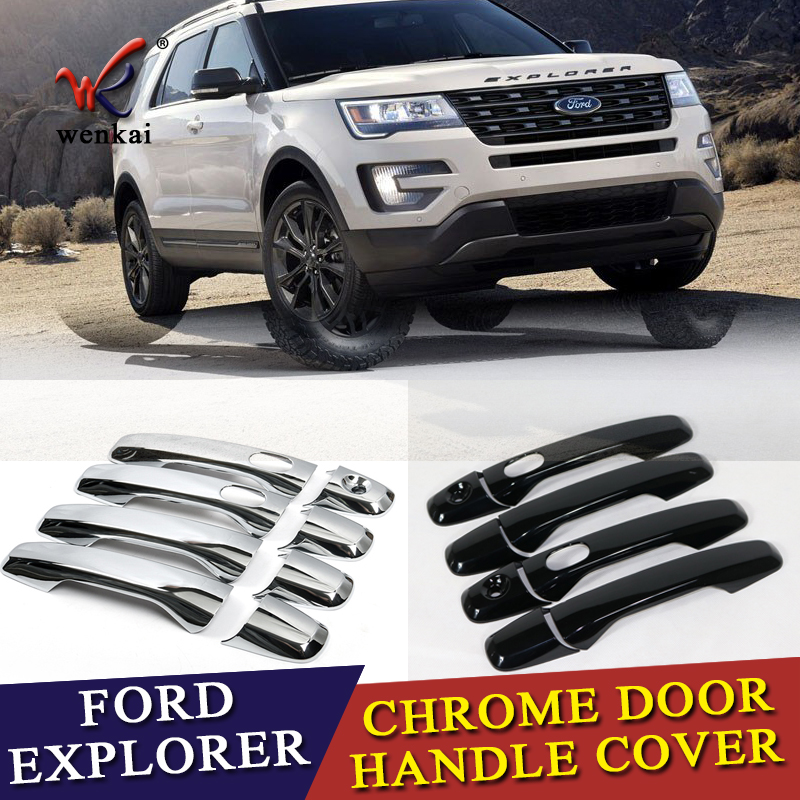 Fit For Fit Ford Explorer Sport 2016 2017 New ABS Chrome Car Door Handle Covers Trim Auto Accessories with Smart Holes 8pcs sport abs chrome