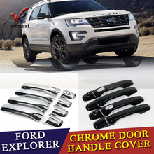 Fit For Fit Ford Explorer Sport 2016 2017 New ABS Chrome Car Door Handle Covers Trim Auto Accessories with Smart Holes 8pcs