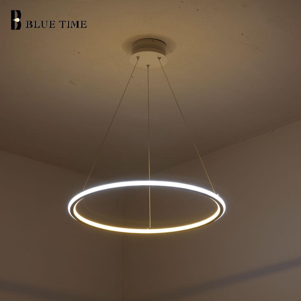 Nuevo moderno 3 anillos de círculo LED luces colgantes para sala de estar comedor LED Lustre lámpara colgante techo luminaria - 4