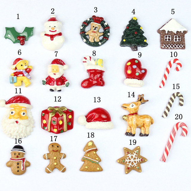 2 Pcs Resin Christmas Charm for Slime Slice Filling DIY Handmade Clay Decoration Accessory