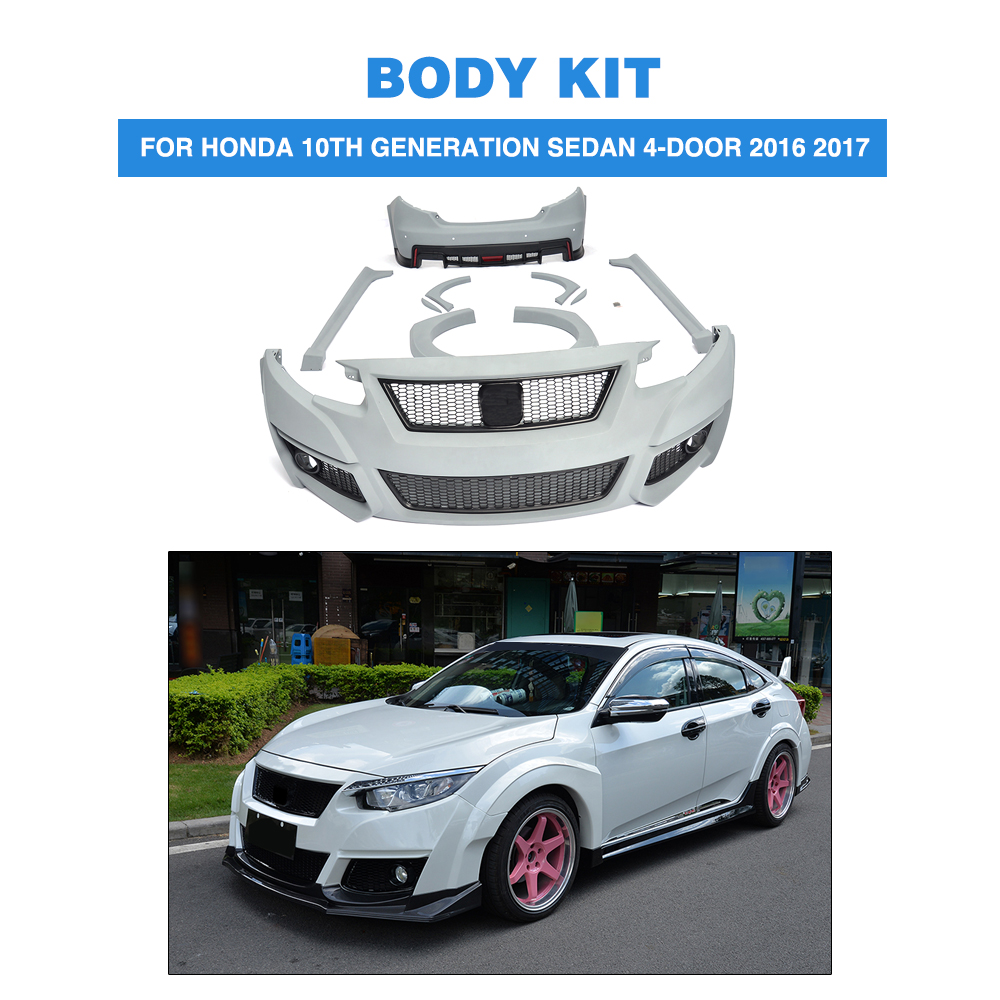 Wide body kits front rear bumper side skirts wheel arch for honda civic 10th generation