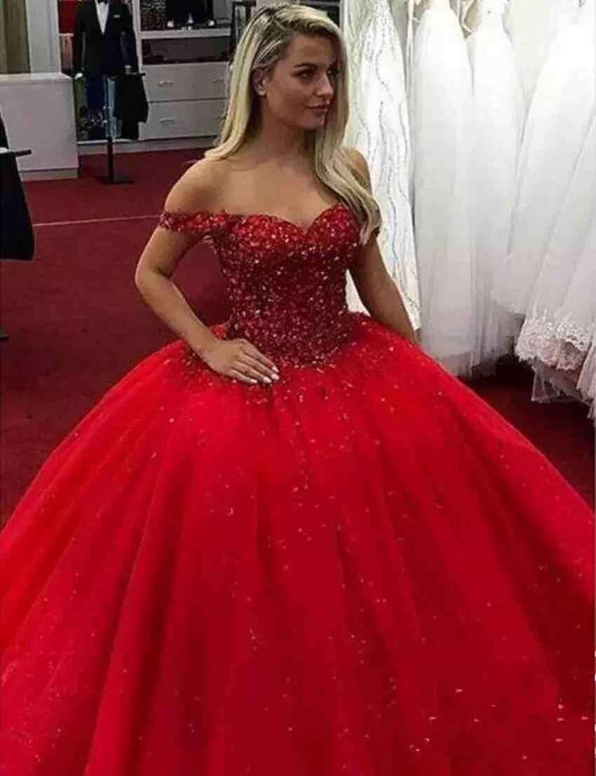 2019 אדום מתוקה Quinceanera שמלות כדור שמלת אפליקציות תחרה עד מתוקה 16 שמלות Vestidos דה 15 שנים