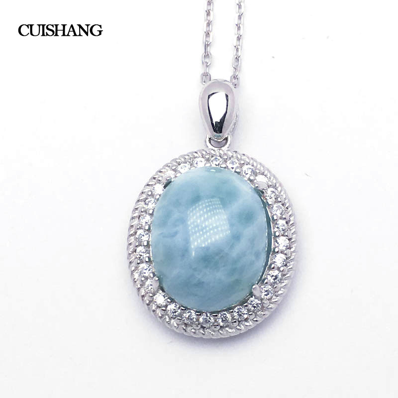 CSJ Real Blue Larimar Pendants 925 Sterling Silver Fine Jewelry  Wedding Engagement Bands for Women Ladies Girls Gift